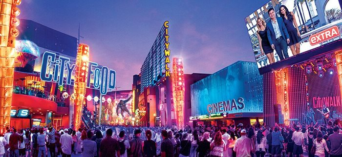 Night life at Universal CityWalk.